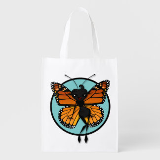 CUTE BUTTERFLY LADY REUSABLE BAG