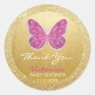 Cute Butterfly Pink Gold Glitter Baby Shower Round Sticker