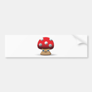 Cute Button Mushroom Bumper Sticker