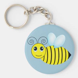 Cute Buzzing Honey Bee Basic Round Button Key Ring