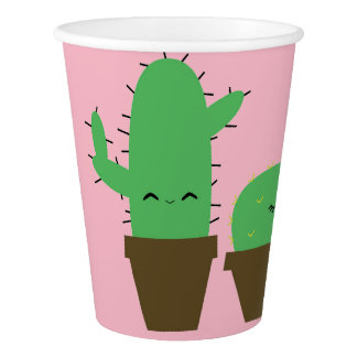 Cute cacti kawaii plants party paper cups