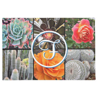 Cute cacti & roses close-up photo custom monogram doormat