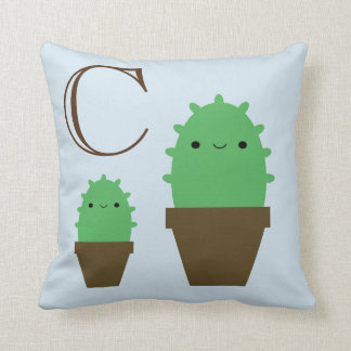 Cute cactus blue throw pillow