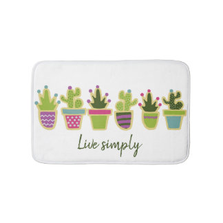 Cute cactus design with custom background color bath mat