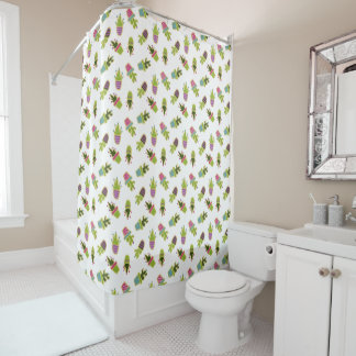 Cute cactus design with custom background shower curtain