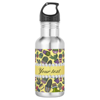 Cute Cactus Faux Gold Foil Bling Diamonds 532 Ml Water Bottle