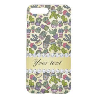 Cute Cactus Faux Gold Foil Bling Diamonds iPhone 8 Plus/7 Plus Case