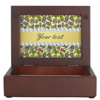 Cute Cactus Faux Gold Foil Bling Diamonds Keepsake Box