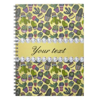 Cute Cactus Faux Gold Foil Bling Diamonds Notebook