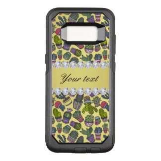Cute Cactus Faux Gold Foil Bling Diamonds OtterBox Commuter Samsung Galaxy S8 Case