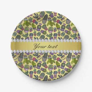 Cute Cactus Faux Gold Foil Bling Diamonds Paper Plate