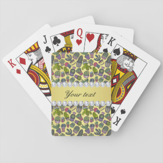 Cute Cactus Faux Gold Foil Bling Diamonds Playing Cards