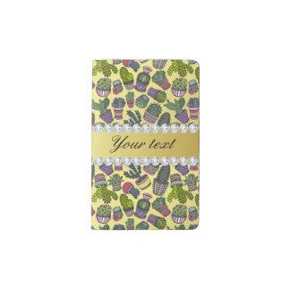 Cute Cactus Faux Gold Foil Bling Diamonds Pocket Moleskine Notebook