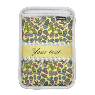 Cute Cactus Faux Gold Foil Bling Diamonds Sleeve For iPad Mini