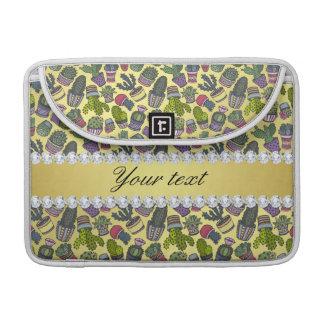 Cute Cactus Faux Gold Foil Bling Diamonds Sleeve For MacBook Pro