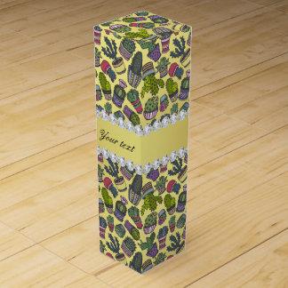 Cute Cactus Faux Gold Foil Bling Diamonds Wine Gift Box