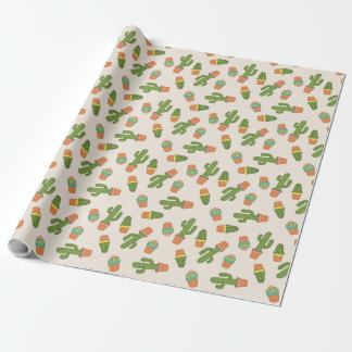 Cute Cactus In Pots Wrapping Paper