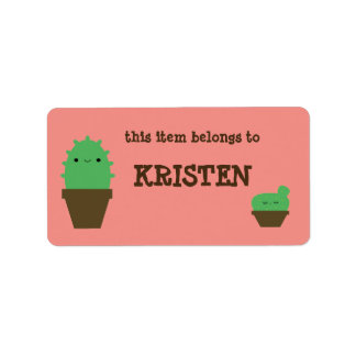 Cute cactus kawaii plant address labels