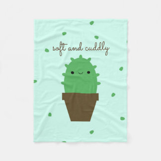 Cute Cactus Kawaii Plant fleece blanket