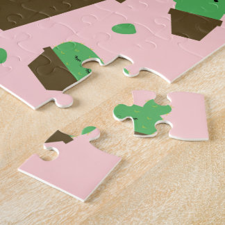 Cute cactus kawaii plant pink jigsaw puzzle