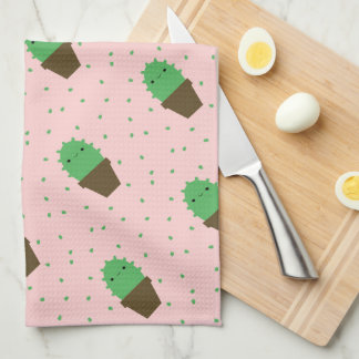 Cute cactus kawaii plant pink kitchen towel