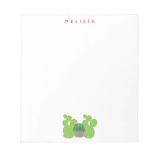 Cute cactus plants in pot with your name on white notepad