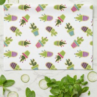 Cute cactus pots with custom background color tea towel