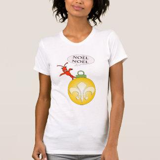 Cute Cajun Crawfish Fleur de Lis Noel T-Shirt