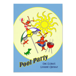 Cute Cajun Crawfish Pool Party Card