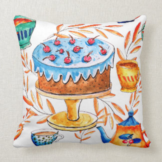 Cute cake and cups themed design throw pillow