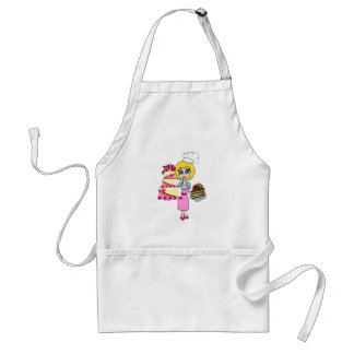Cute cake maker and cakes cartoon apron - woman