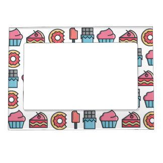 Cute Cakes and Desserts Pattern Magnetic Picture Frame