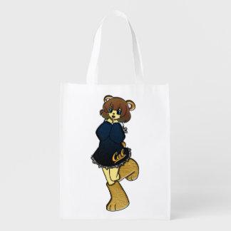 Cute Cal Bear Girl Reusable Grocery Bag