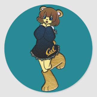 Cute Cal Bear Girl Round Sticker