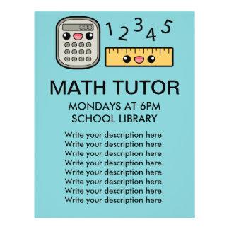 Cute Calculator And Ruler Math Tutor Template 21.5 Cm X 28 Cm Flyer
