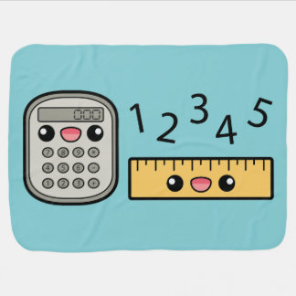 Cute Calculator And Ruler With Numbers Pram blanket