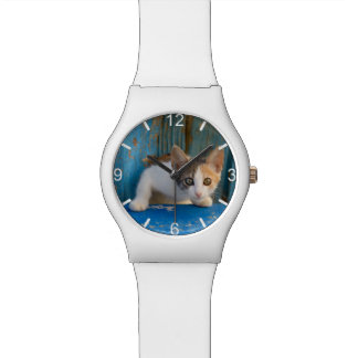 Cute Calico Cat Kitten Funny Eyes Photo dial-plate Watch