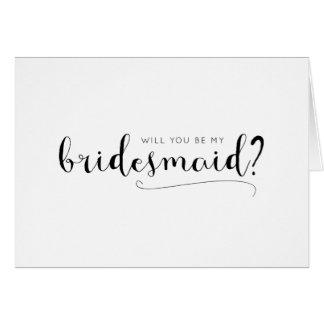 Cute Calligraphy Bridesmaid Proposal Card
