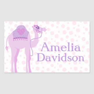Cute camel book plate name purple id label sticker