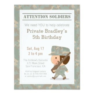 Cute Camo Military Print Army Boy Birthday Party 11 Cm X 14 Cm Invitation Card