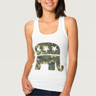 Cute Camouflage Republican Elephant Singlet
