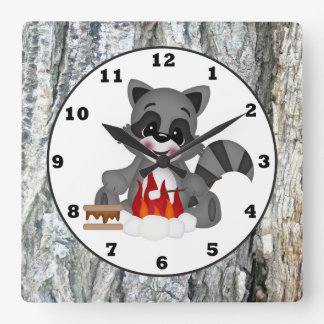 Cute Campkin Raccoon wall clock