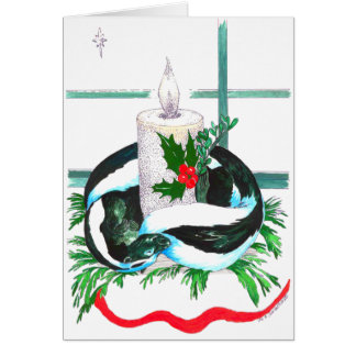 Cute Candle and Skunk Wildlife Christmas Card