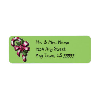 Cute Candy Cane Christmas Address Labels