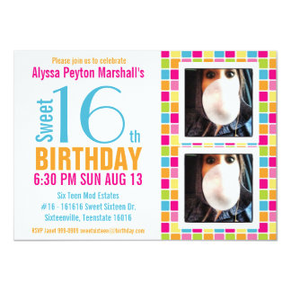 Cute Candy Colors Photo Sweet Sixteen Card