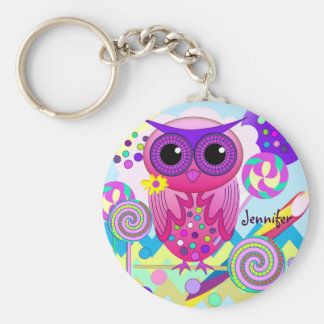 Cute Candy Owl, Lollipops & Custom Name Keychain