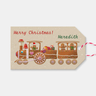 Cute Candy-Sprinkled Gingerbread Christmas Train Gift Tags