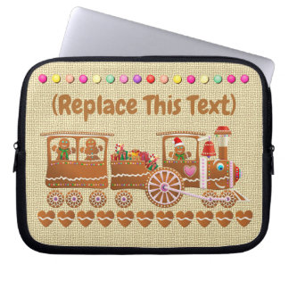 Cute Candy-Sprinkled Gingerbread Christmas Train Laptop Sleeve