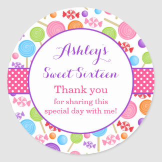 Cute Candy Sweet 16 Birthday Party Favor Classic Round Sticker