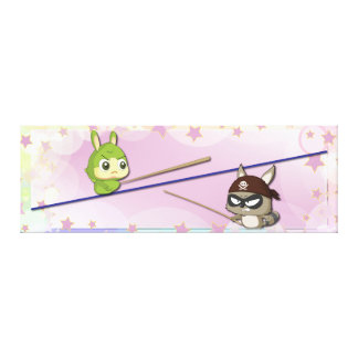 Cute Canvas Funny Cartoon Character Kawaii Poster Gallery Wrapped Canvas